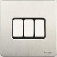Schneider Ultimate Screwless 3Gang 2way Switch Stainless Steel Black|LV0701.0910