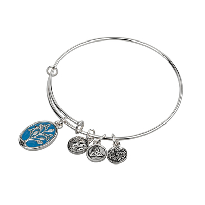 SILVER TONE ENAMEL TREE OF LIFE BANGLE