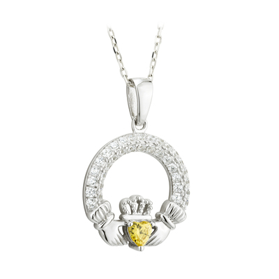 CLADDAGH TOPAZ PENDANT (NOVEMBER BIRTHSTONE) (BOXED)