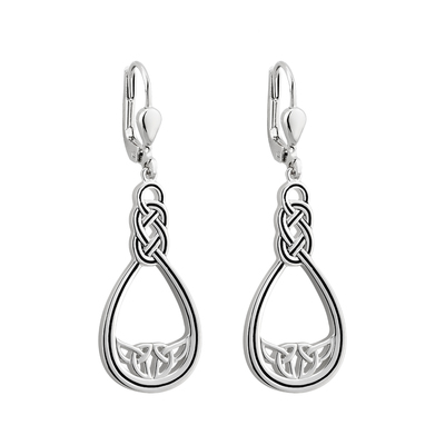 S/S BLACK ENAMEL CELTIC TWIST DROP EARRINGS