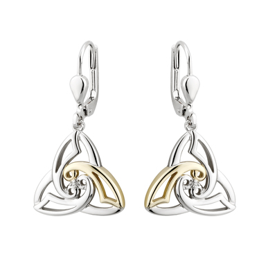 SILVER 10K GOLD & DIA CELTIC KNOT EARRINGS(BOXED)