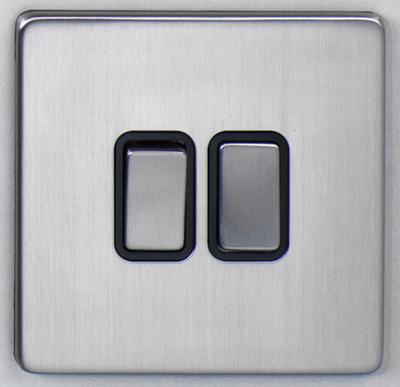 DETA Screwless 2 Gang Switch Satin Chrome Black Insert | LV0201.0425