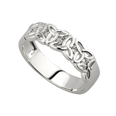 14K white gold diamond trinity knot band s2720 from Solvar