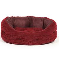 "Danish Design Oval Slumber Bed - Bobble Fleece Damson Red 40"" x"