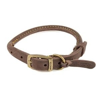 """Ancol Timberwolf Rolled Leather Collar Sable 16"""" Size 3 x 1"""