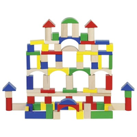 Children's colourful building blocks stacked like a castle