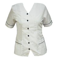 Homecare White Tunic With Navy Trim (V Neck)