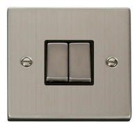 Click Deco Victorian Stainless Steel with Black Insert 2 Gang 2 Way 'Ingot' Switch | LV0101.0076