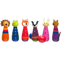 wooden skittles - woodland animals