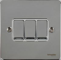 Schneider Ultimate Low Profile 3gang switch Polished Chrome with White Insert | LV0701.0039