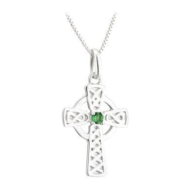 S/S LARGE GREEN CRYSTAL CROSS PENDANT(BOXED)