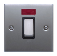 FEP Low Profile Satin Chrome 45a 1g Cooker Switch with Neon Black Insert Chrome Switch | LV0801.0010