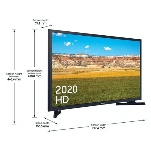 """Samsung 32"""" HD HDR Smart LED TV with dimensions"""