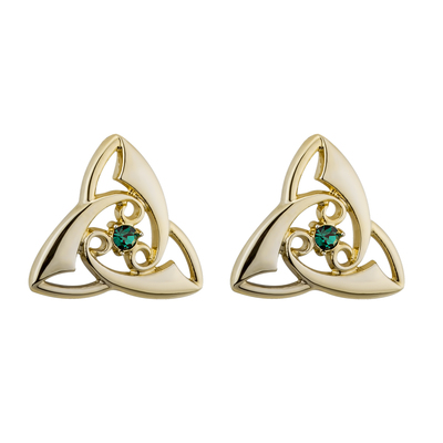 GOLD PLATED CRYSTAL TRINITY KNOT STUD EARRINGS