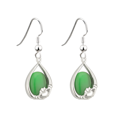 RHODIUM PLATED GREEN CAT EYE CLADDAGH EARRINGS