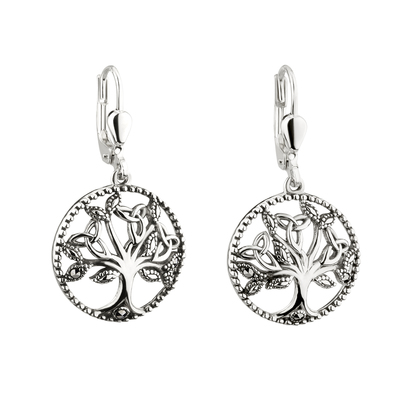 SS MARCASITE TREE OF LIFE DROP EARINGS