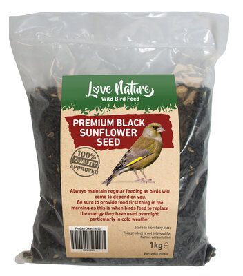 Love Nature 1kg Black Sunflower Seed Bag