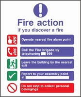 Fire Action Sign FACT0015-0452