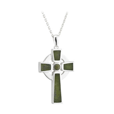 sterling silver small connemara marble cross pendant s46139 from Solvar
