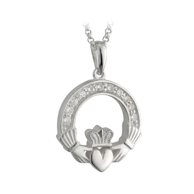 S/S CZ CLADDAGH PENDANT - FAL BOX(BOXED)