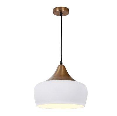 Amiel 1 Light Pendant, White & Antique Brass | LV1802.0049