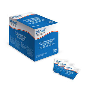 Clinell Skin Sanitising Alcohol Wipe 2% Chlorhexidine Individually Wrapped 10x10cm