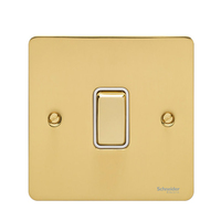 Flat Plate Polished Brass 20A DP Switch WHITE | LV0701.0338