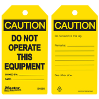 Master Lock Yellow caution do not operate this equipment - safety tag