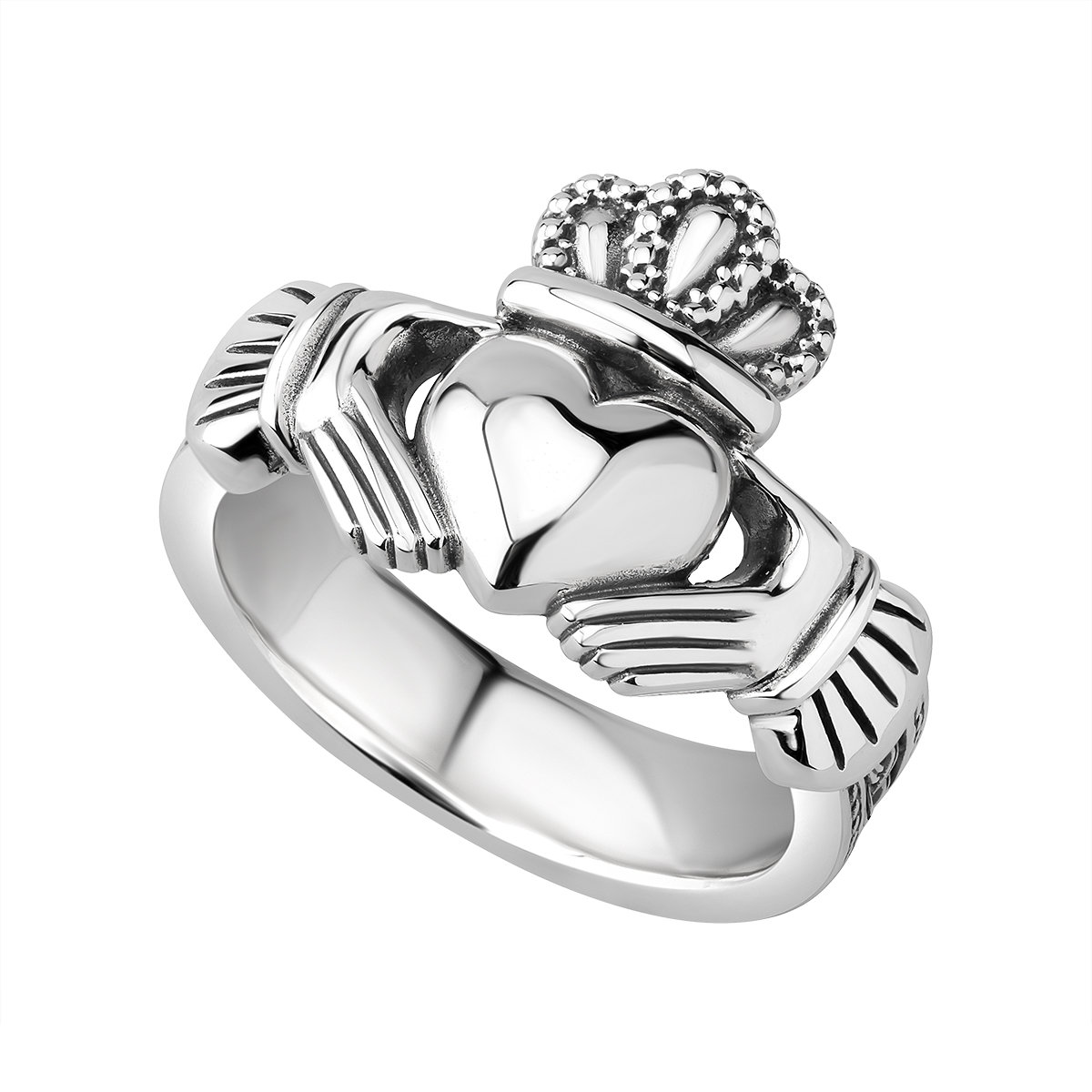 sterling silver heavy celtic claddagh ring s21070 from Solvar