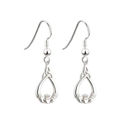 S/S CLADDAGH TRINITY DROP EARRINGS FISH HOOK
