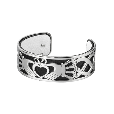 RHODIUM PLATED LEATHER CLADDAGH CUFF BANGLE