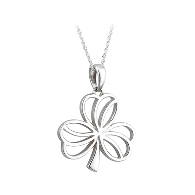 14K WHITE MEDIUM SHAMROCK PENDANT