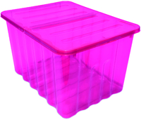 75L Storage Box Pink Tint W/Folding Lid