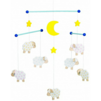 Charming wooden sheep mobile for above a crib