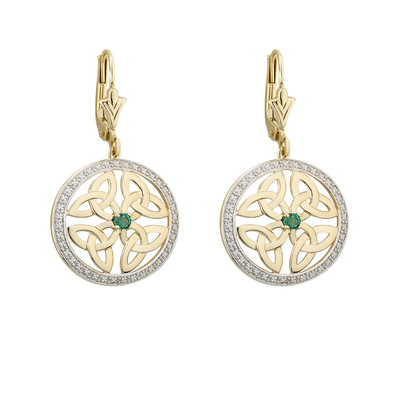 14K EMERALD ROUND TRINITY KNOT EARRINGS