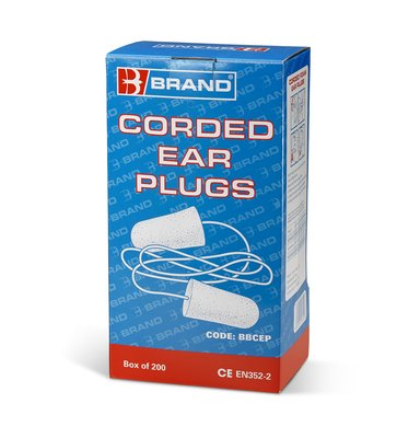B-Brand Corded Ear Plugs per box of 200