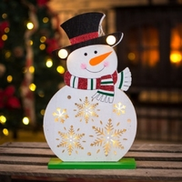 30cm Battery Operated Wooden Snowman