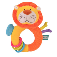 Yellow and orange lion teether toy for babies