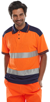 B-Seen Polo Shirt Two Tone Orange/Navy