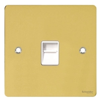 Flat Plate Polished Brass RJ45 DATA Socket WH IN|LV0701.0601