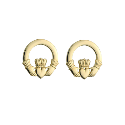 10K CLADDAGH STUD EARRINGS