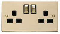 Click Deco Victorian Polished Brass with Black Insert Twin switched Socket | LV0101.0181
