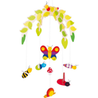 colourful insects mobile for hanging over a crib