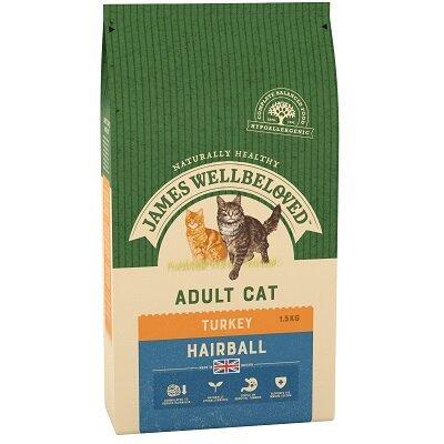 James Wellbeloved Adult Cat Hairball Turkey 1.5kg