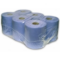 1ply Blue Centrefeed Roll 300m, 6/Case