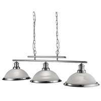 Bistro Satin Silver 3 Light Ceiling Bar Pendant With Acid Glass Shades