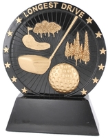 17.5cm Golf Plaque Longest Drive (Black with