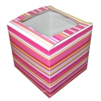 PINK STRIPE 1 CUP CAKE BOX, 30 PACK