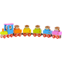 Wooden toy counting teddy bear train