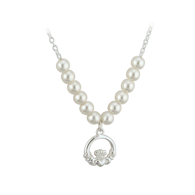RHODIUM PLATED PEARL CLADDAGH NECKLET